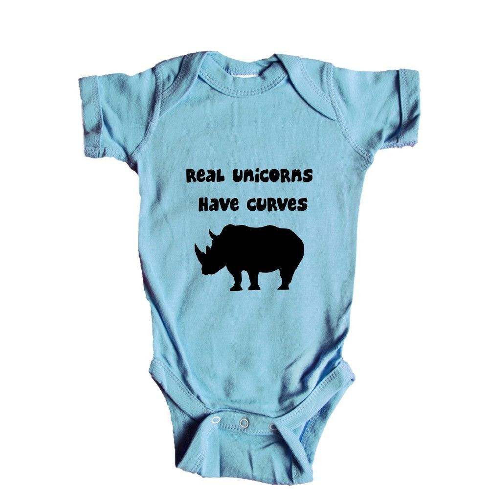 1686461ca6 Real Unicorns Have Curves Unicorn Imaginary Myth Legend Mythical Magic  Magical Imagination Pun Puns Play On Words SGAL9 Baby Onesie / Tee