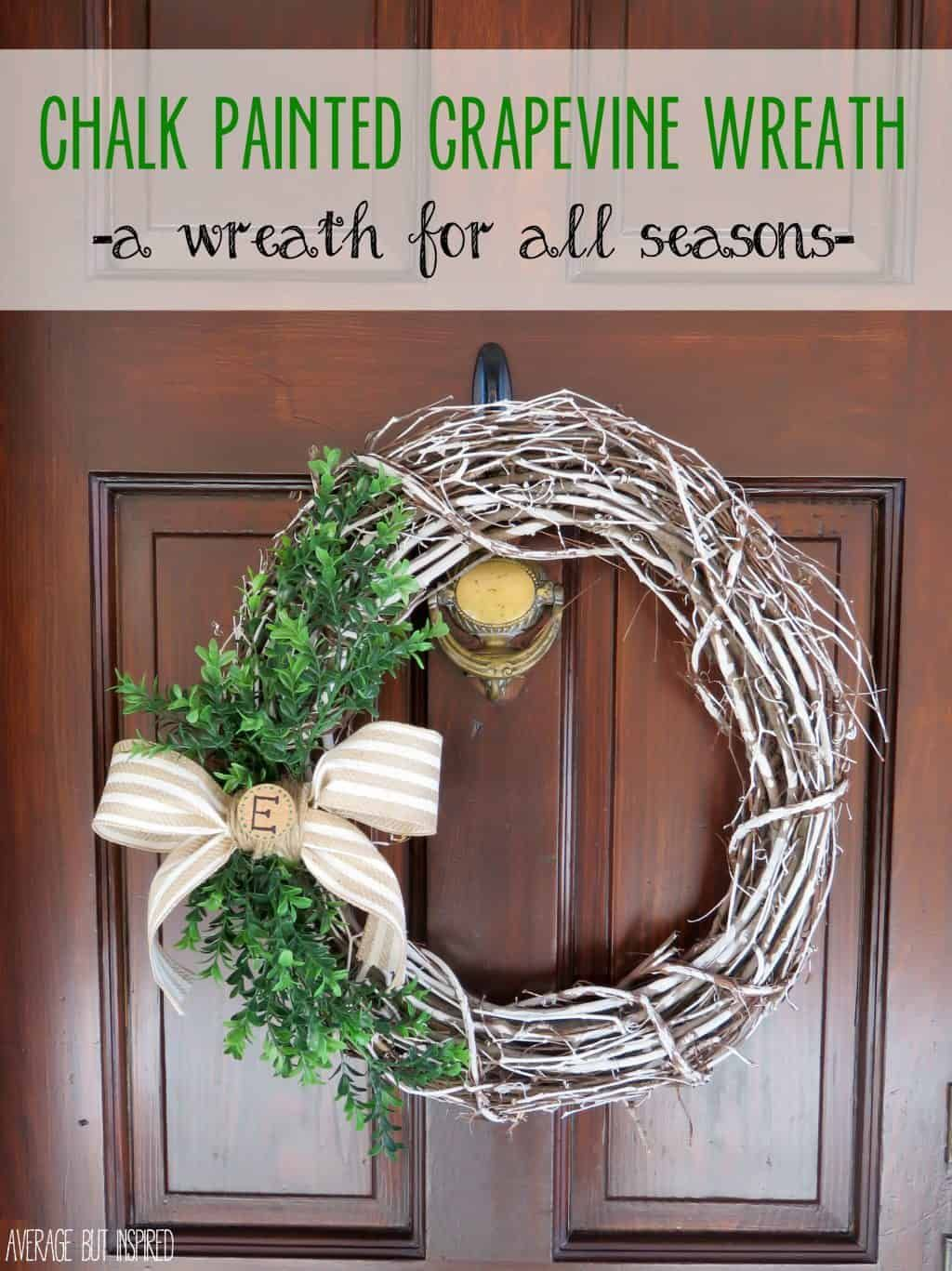 Photo of Chalk Painted Grapevine Wreath {A Wreath for All Seasons}