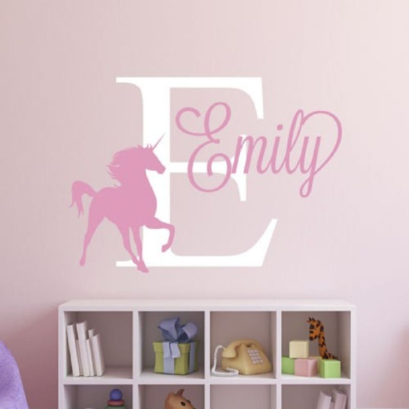 Unique personalized custom name unicorn removable decal vinyl wall sticker for kids room wall decor home art mural decoration in wall stickers from home