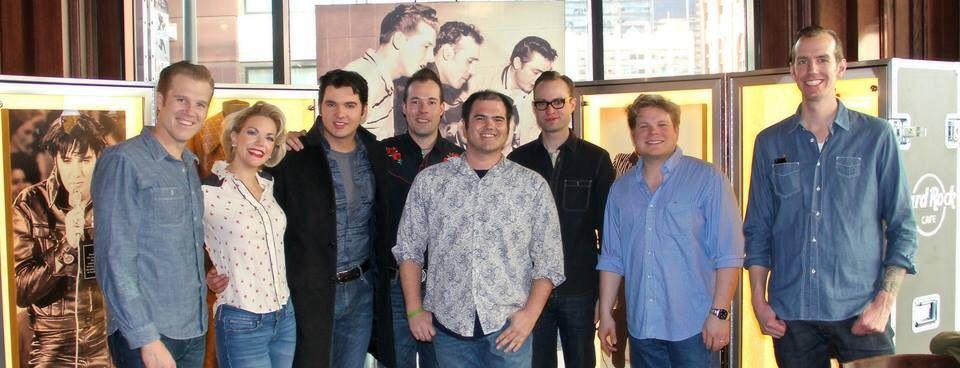 The cast of Million Dollar Quartet Hard Rock Cafe Denver Feb 2014
