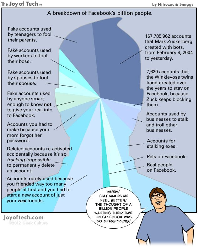 Most of Facebook's Billion Accounts Are Fake [SUNDAY COMIC]   Humor