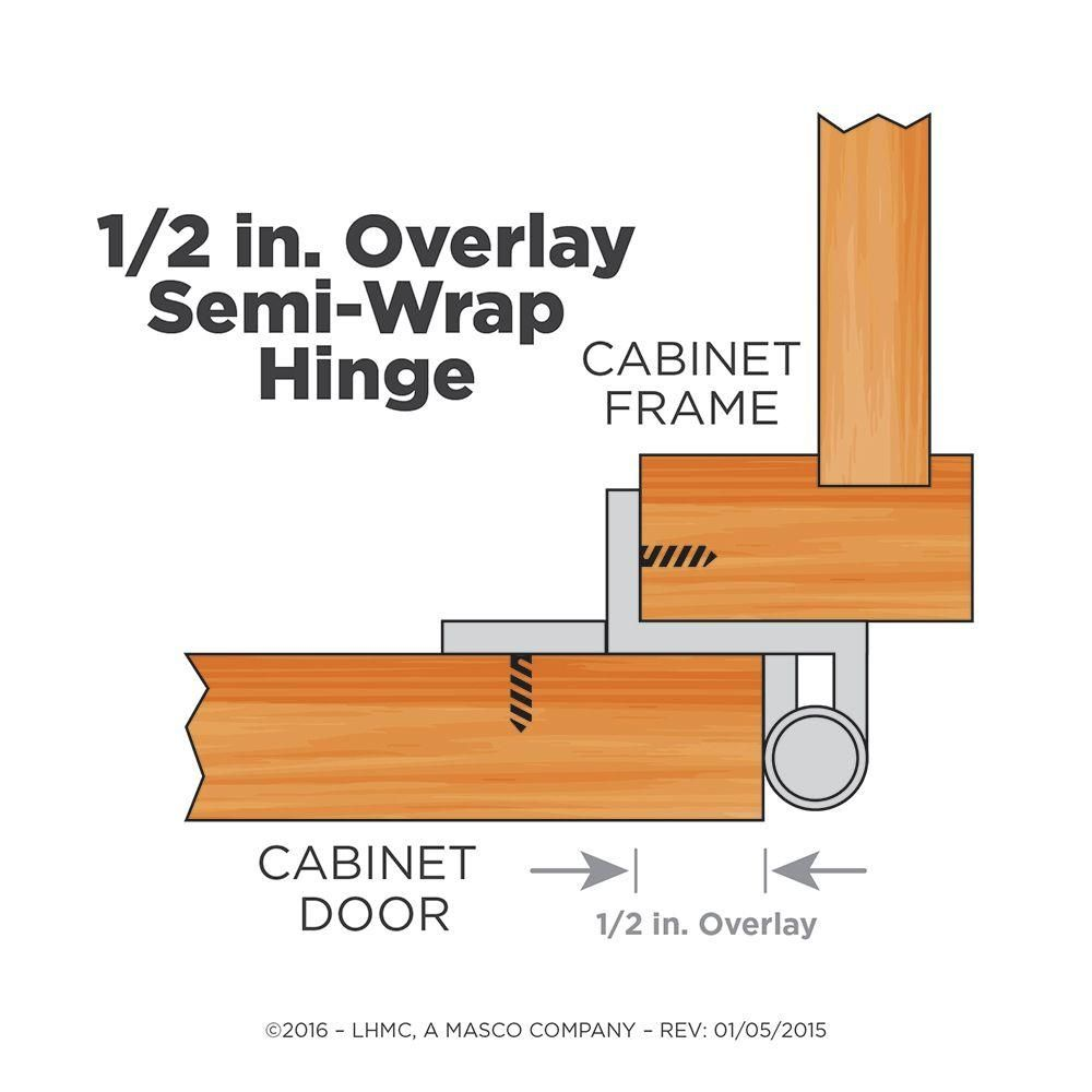Liberty Satin Nickel Semi Wrap 1 2 In Overlay Cabinet Hinge 1 Pair H01915c Sn O Hinges For Cabinets Overlay Cabinet Hinges Liberty Hardware