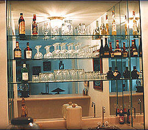 Pin On Den Redesign, Bar Mirror With Glass Shelves