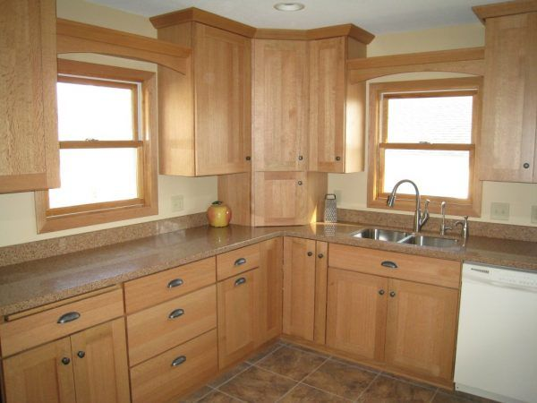 Image Of Fascinating Kitchens With Natural Oak Cabinets Also Wooden Double  Hung Windows And Cabinet Cup Pulls In Oil Brushed Bronze