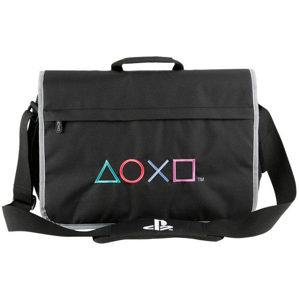 Hot Topic PlayStation Symbols Fizz Messenger Bag ($56) ❤ liked on Polyvore featuring bags, messenger bags, multi, print messenger bag, piping bag, gray messenger bag, padded laptop bag and laptop courier bag