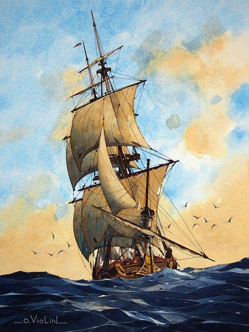 Aquarelle dessin paysage marine voilier pin up chaton bretagne voiliers voilier peinture de - Dessins de voiliers ...