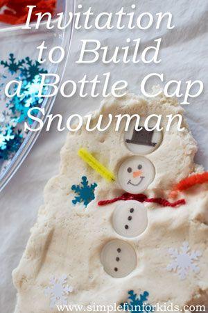 Winter Activities for Kids: Build a bottle cap snowman in play dough! (preschool or kindergarten)