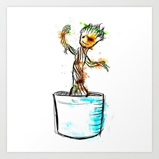 Watercolour Groot from Guardians of the Galaxy available in various products