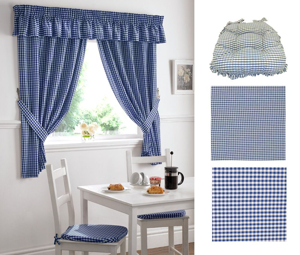 Gingham kitchen curtains set blue oxford frilled seat pad blue medium and