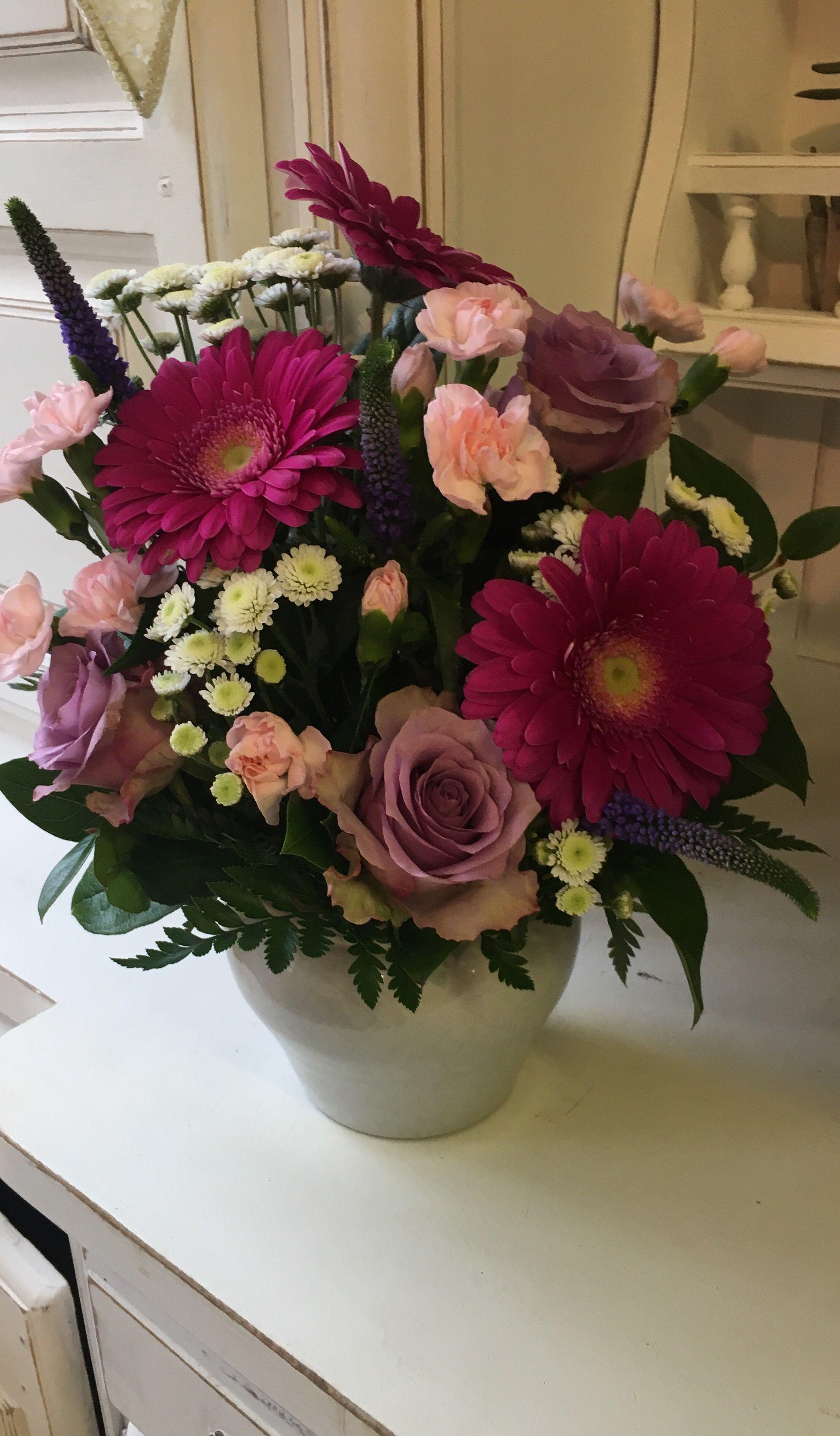 Pink Flower Pot Arrangement Pink Gerberas Lilac Roses Light Pink