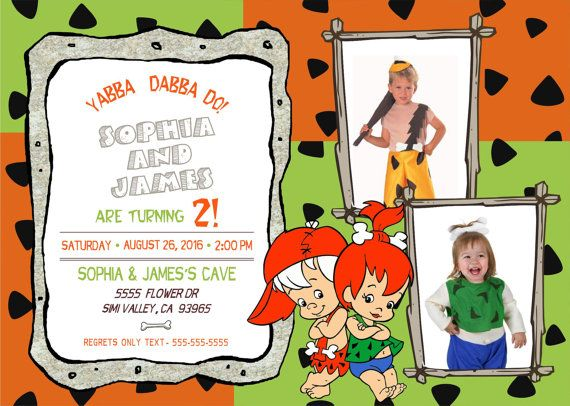 64208c1d281e071523880656c52bcb10 bam bam and pebbles birthday invitation for twins,Flintstones Birthday Invitations