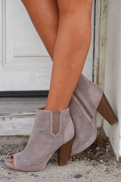 Pep In Your Step Perforated Booties - Taupe from Closet Candy Boutique #fashion #ootd #spring
