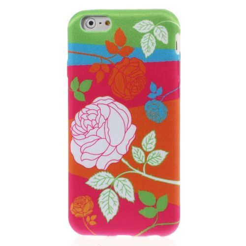 Javu - iPhone 6 Hoesje - Back Case Siliconen Canvas Gekleurde Roos | Shop4Hoesjes