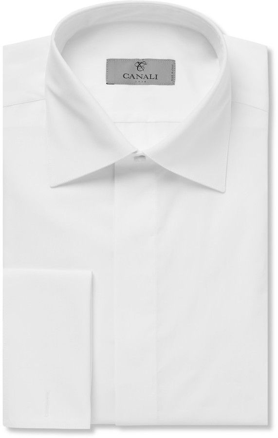 21344761 Canali White Double-Cuff Cotton-Piqué Tuxedo Shirt | Mens Fashions ...