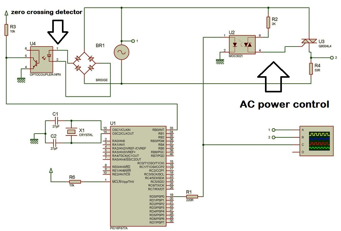 Ac Power Control With Thyristor Using Pic Microcontroller Thermometer Circuit Schematic Operational Amplifiers