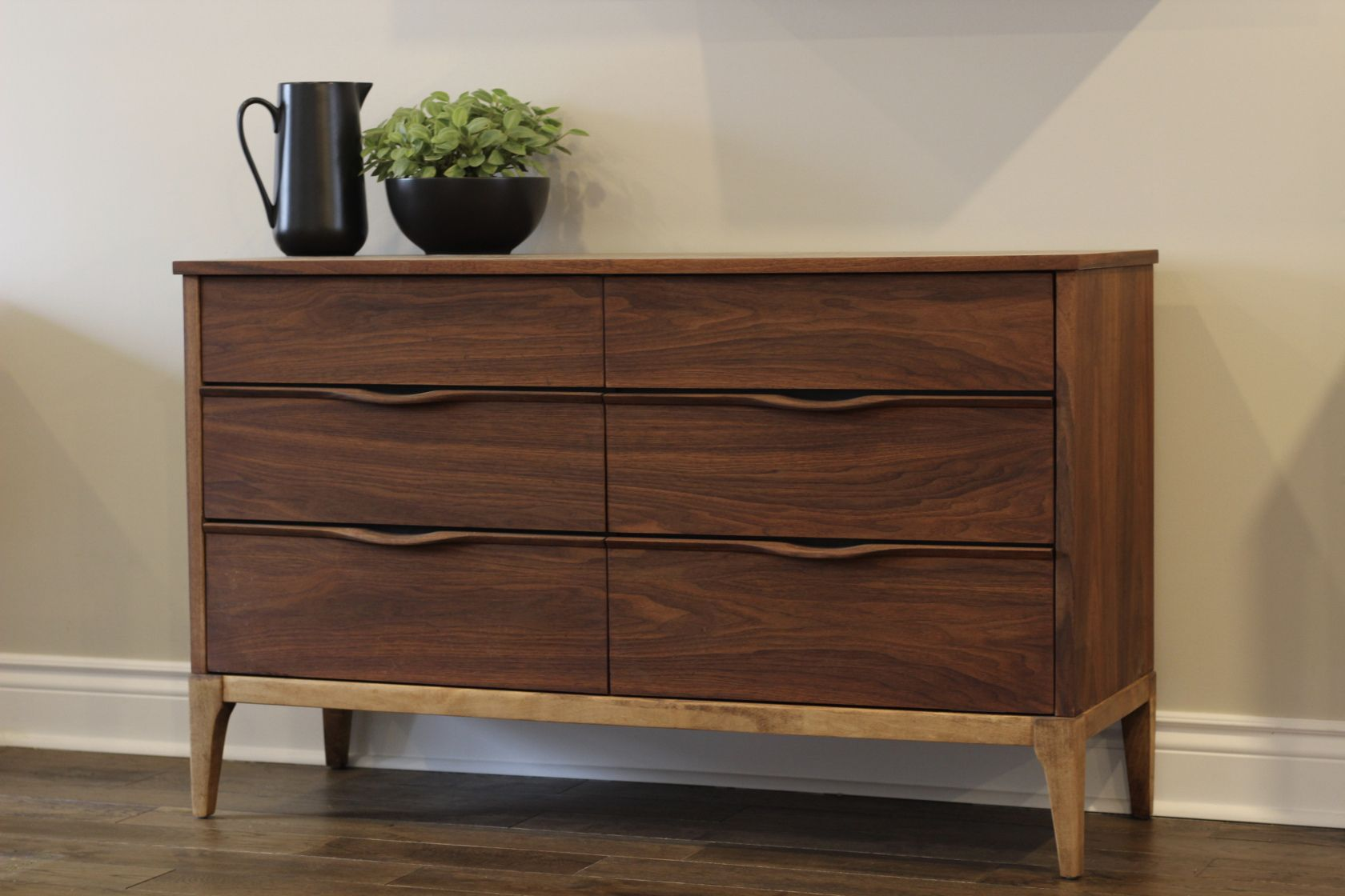 Vintage kaufman furniture dresser in walnut with contrasting birch base