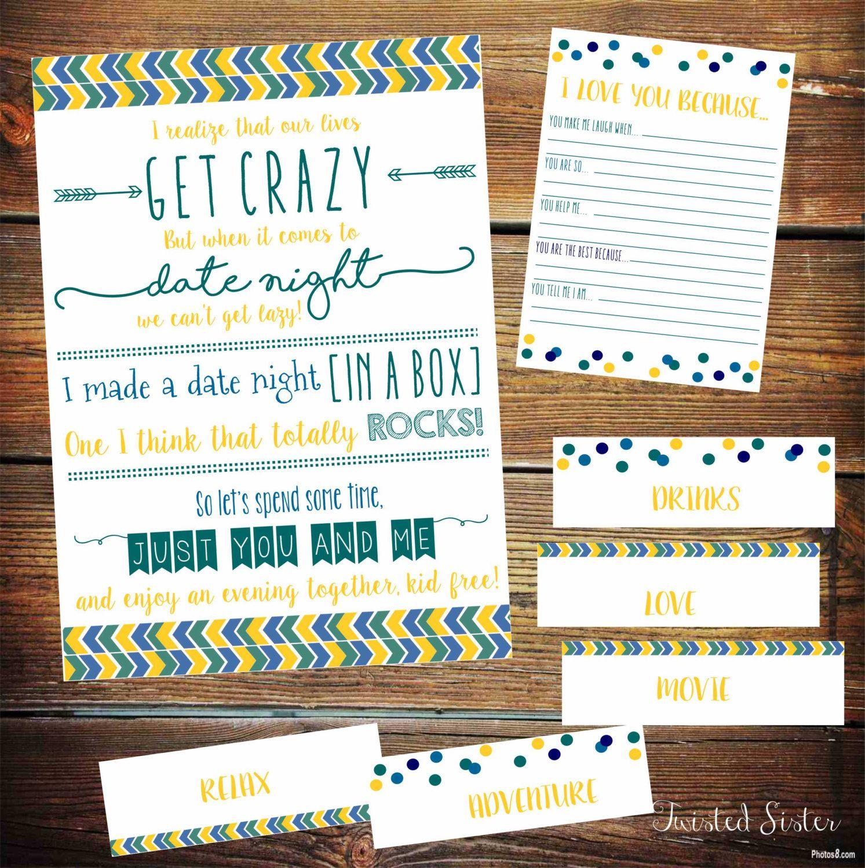 Date Night Printables, Date Night in a Box, Date Night Ideas, Date ...