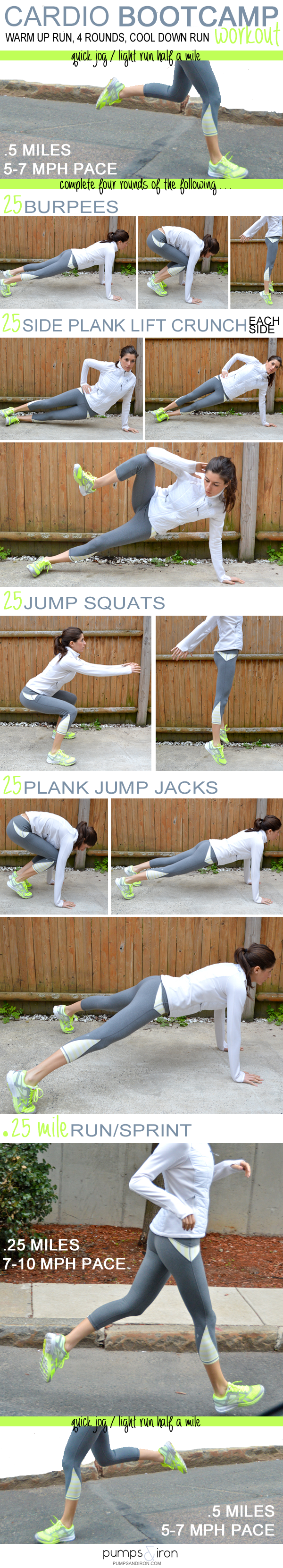 Cardio Boot Camp Workout - running intervals with a bodyweight strength training…