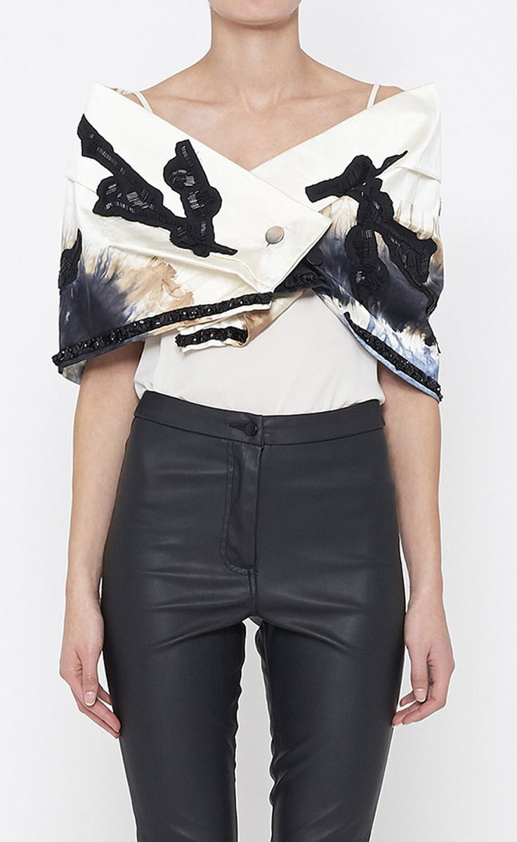 Prada Beige, Black And Multicolor Cape