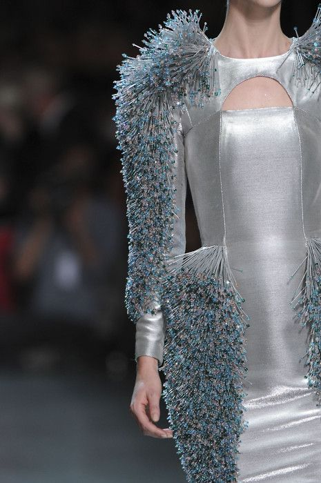 Structured silver dress with 3D beaded textures ...