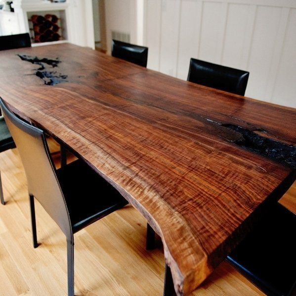 Live Edge Walnut Dining Table In Solid Book Matched Slabs With