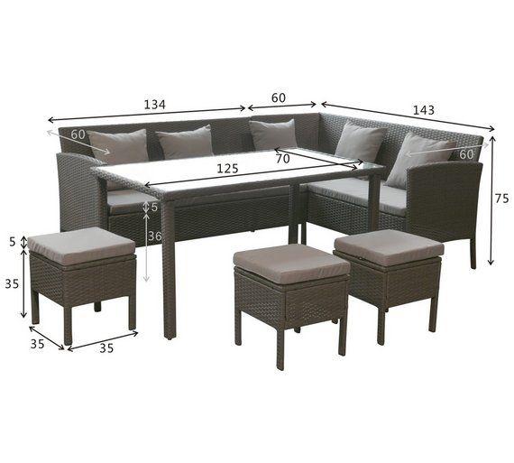 Rattan Effect Garden Dining Furniture: Home 8 Seater Rattan Effect Corner Sofa Set