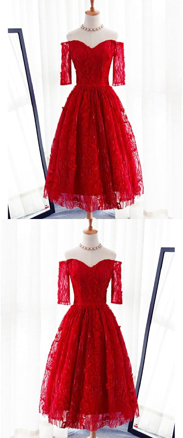 Hot sale magnificent red red lace lace short in homecoming