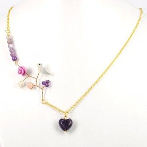 Singing Bird Natural Amethyst Beads Handmade Necklace