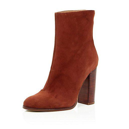 Bottines à talons en daim marron - Bottines - Chaussures/bottes - femme