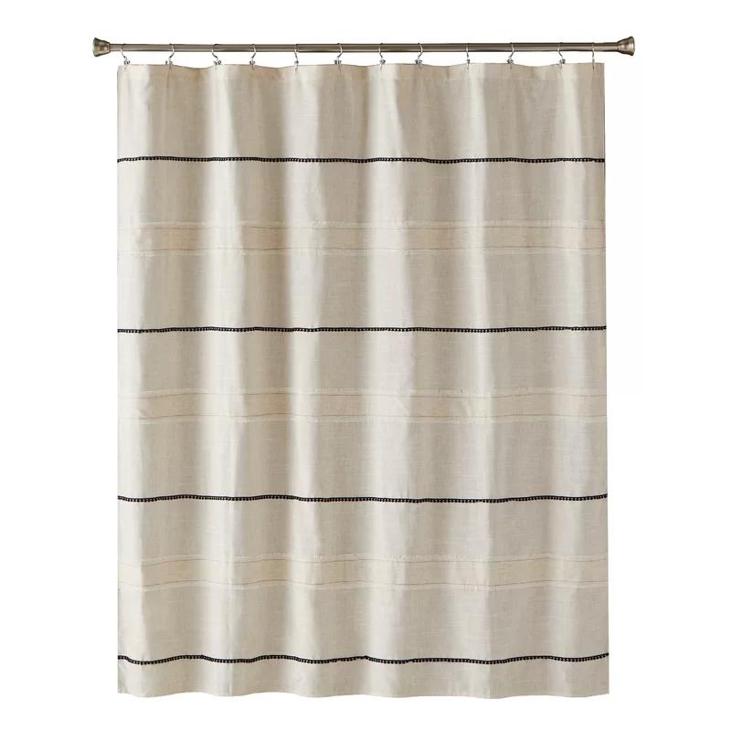 Artie Striped Single Shower Curtain In 2020 Neutral Shower