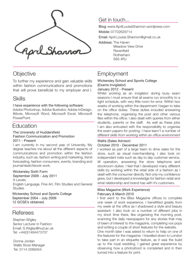 junior fashion buyer resume skills Google Search – Fashion CV Template