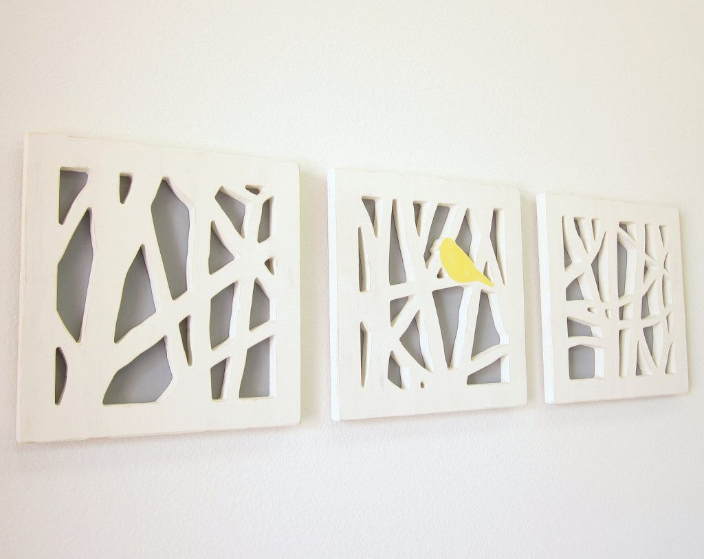 Wall Art Ideas Design Handmade Bathroom Metal Crafts Three Dimensional Separated Panels Bordered Yellow Bird Fancy