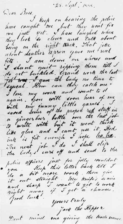 Letters From Jacks The Ripper One Of Jack The Ripper S Letters