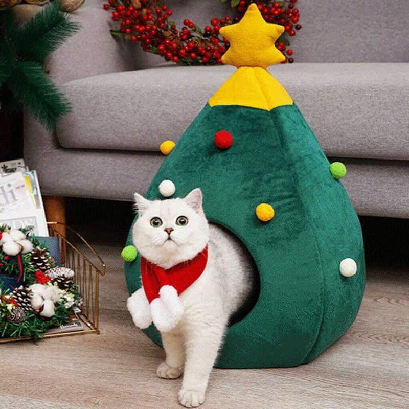 Cute Christmas Tree Shaped Warm Winter Cave Christmas Tree Dog Cat Christmas Tree Christmas Tree Bedding