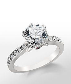 Monique Lhuillier Feuille Double Halo Diamond Engagement Ring In