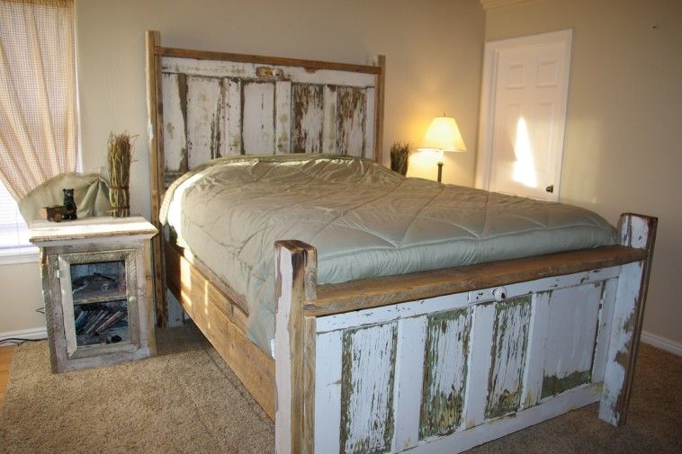 Unique Queen Size Bed Frame Which Decorated With Stained Used Door