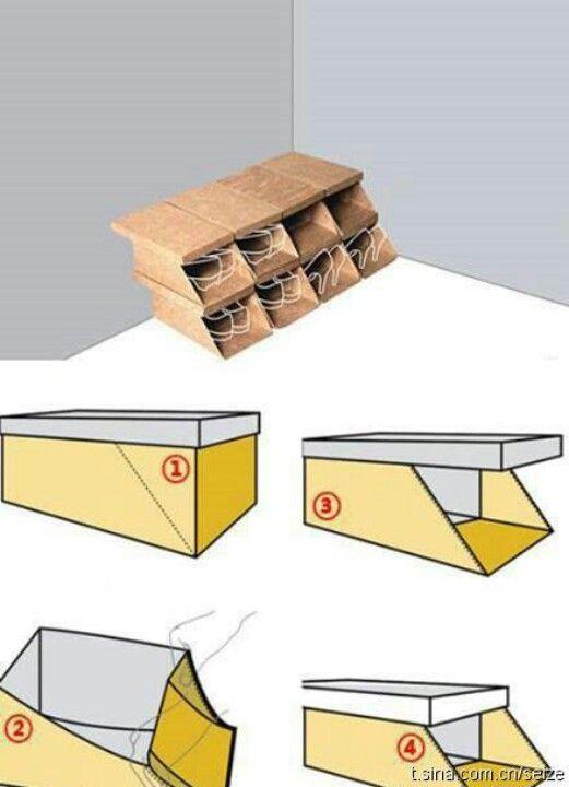 10 ideias para reciclar caixas de sapatos. Black Bedroom Furniture Sets. Home Design Ideas