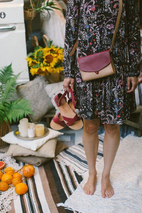 64484b6ef5f4e Leather Sandals, Marsala Sandals, Bordeaux Women Sandals, Women ...