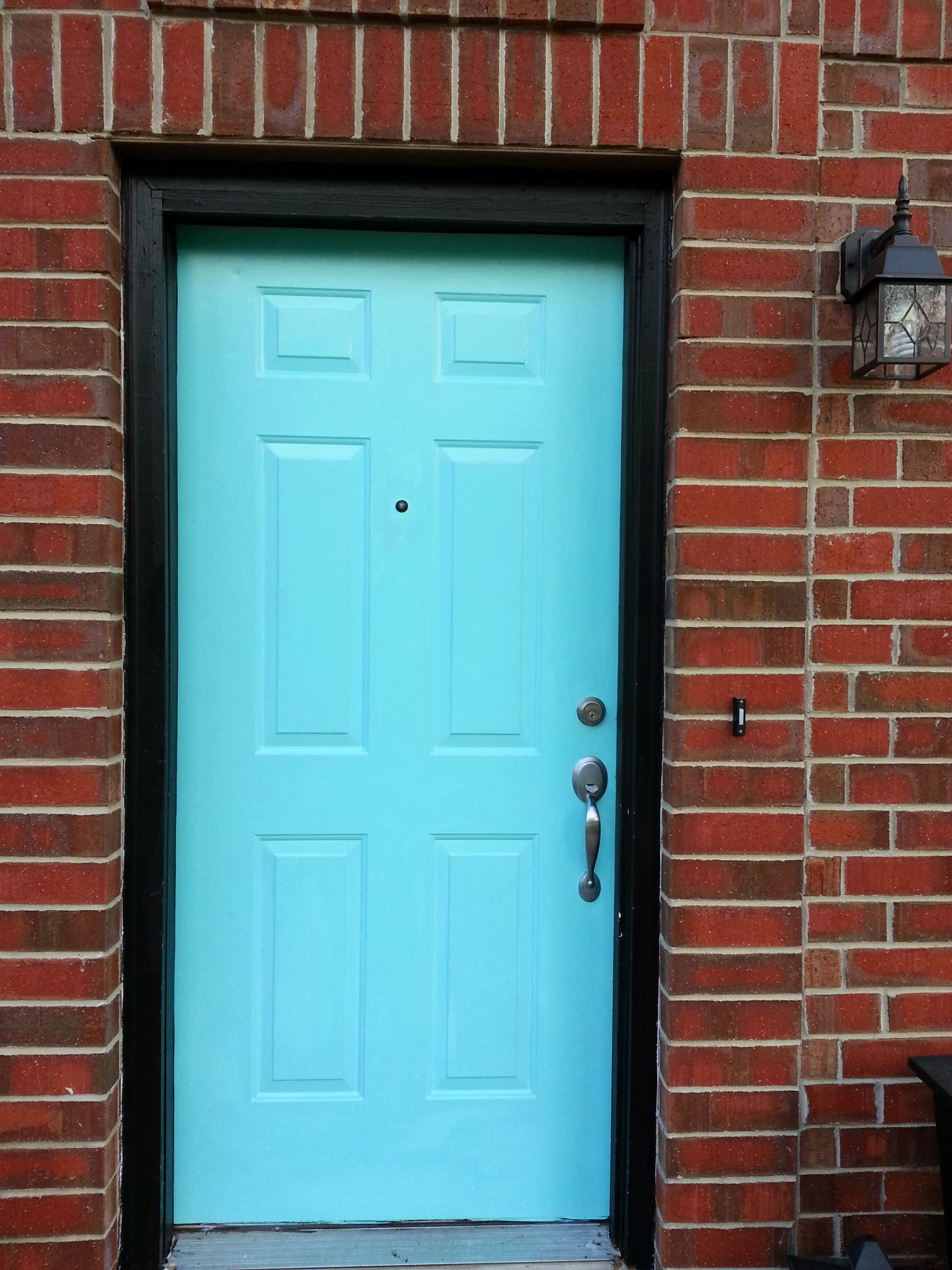 Cheerful tiffany blue front door with black trim and red for Blue green front door