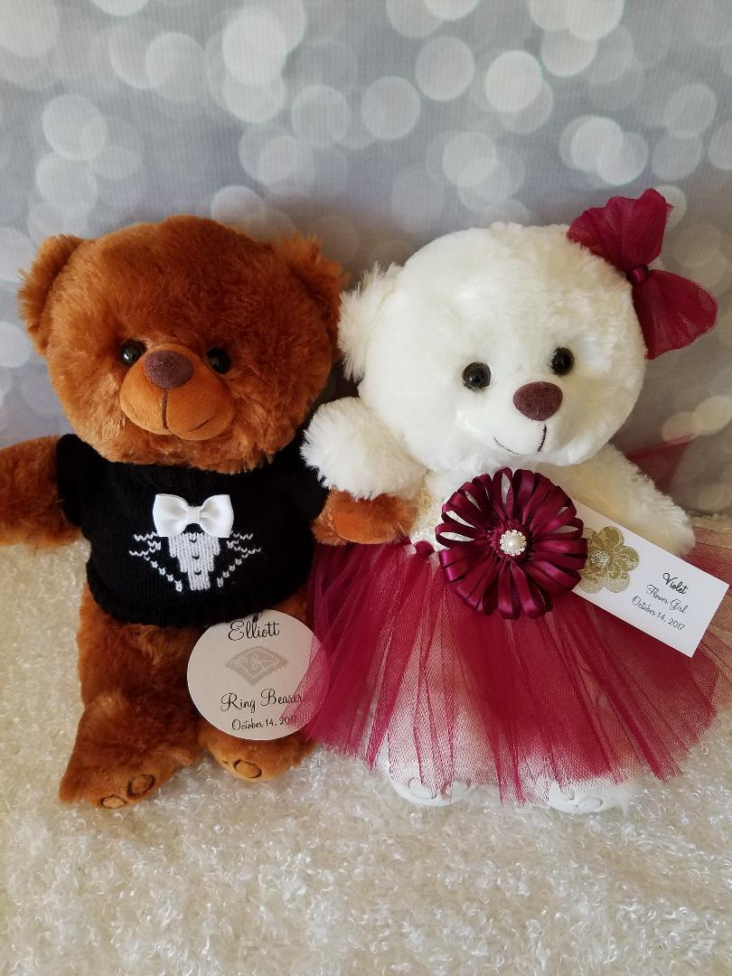 Flower Girl And Ring Bearer Teddy Bear Gift Set With Two 11inch
