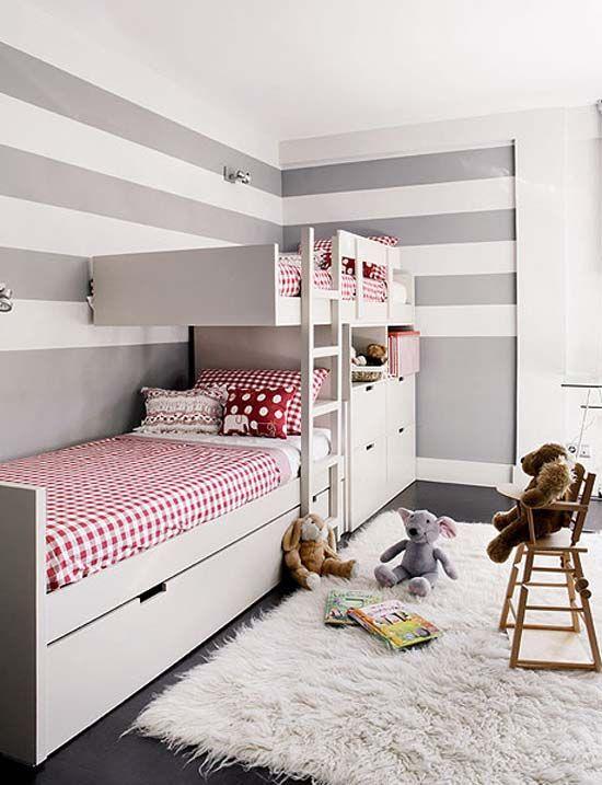 Beautiful Small Bedroom Ideas For Two Part - 4: Kidu0027s Room / Habitaciones Niños Grey/white Stripe Wall / Kids Bedroom
