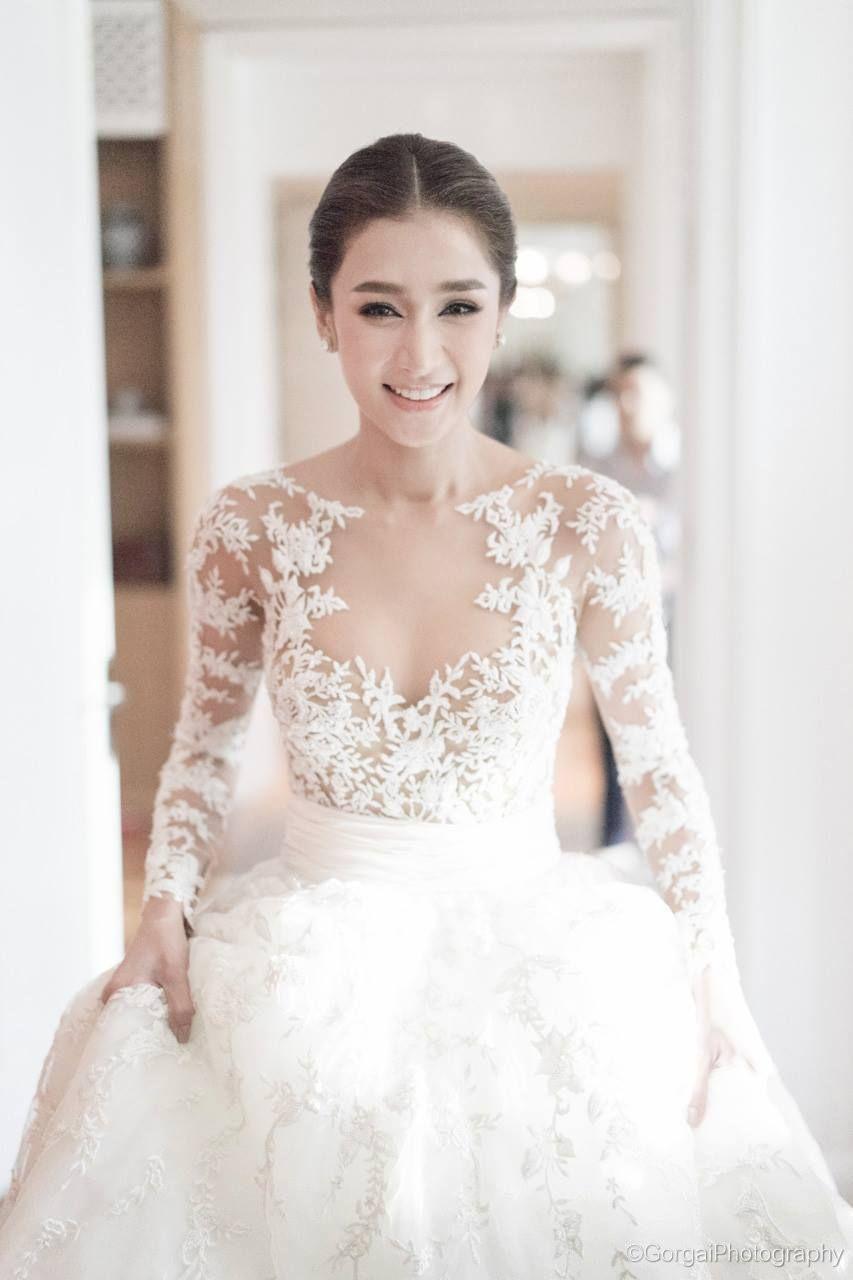 Illusion lace Zuhair Murad wedding gown // Thai actress ...