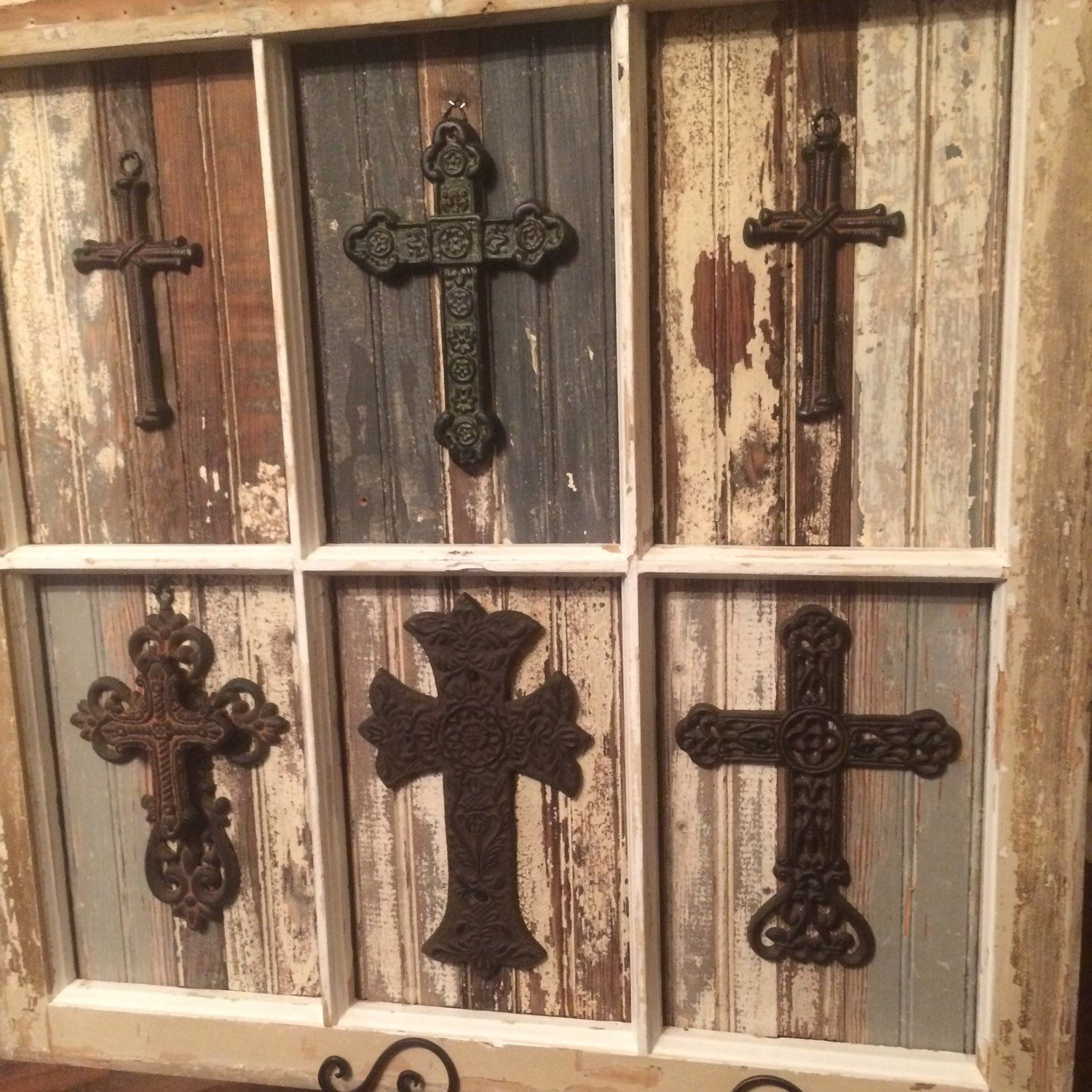 6 Pane Antique Window With Upcycled Wood And Metal Crosses Beautiful