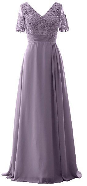 MACloth Elegant Half Sleeve Prom Dress Lace Tulle Maxi Evening Formal Gown (46, Teal)