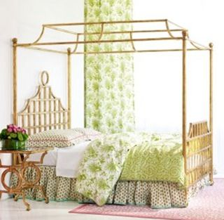 Brass chinese chippendale canopy bed frame with fretwork for Gold canopy bed frame