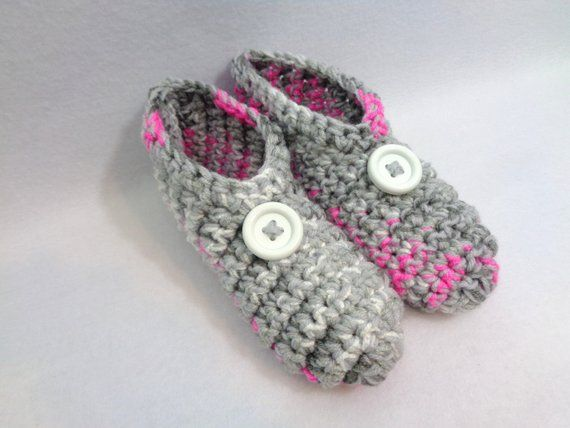 6657026909e9c Crochet Slippers in Grays and Pink with Buttons Size Medium, Womens ...