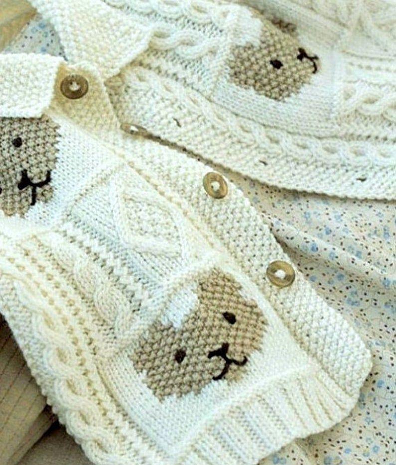 Vintage Knitting Pattern PDF Teddy Bear Cardigan for Baby ...