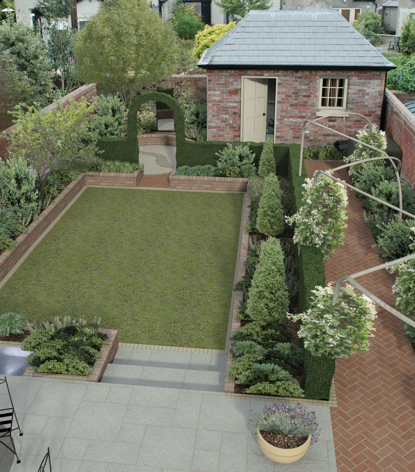 The Neat And Quintessential English Back Garden Backyard