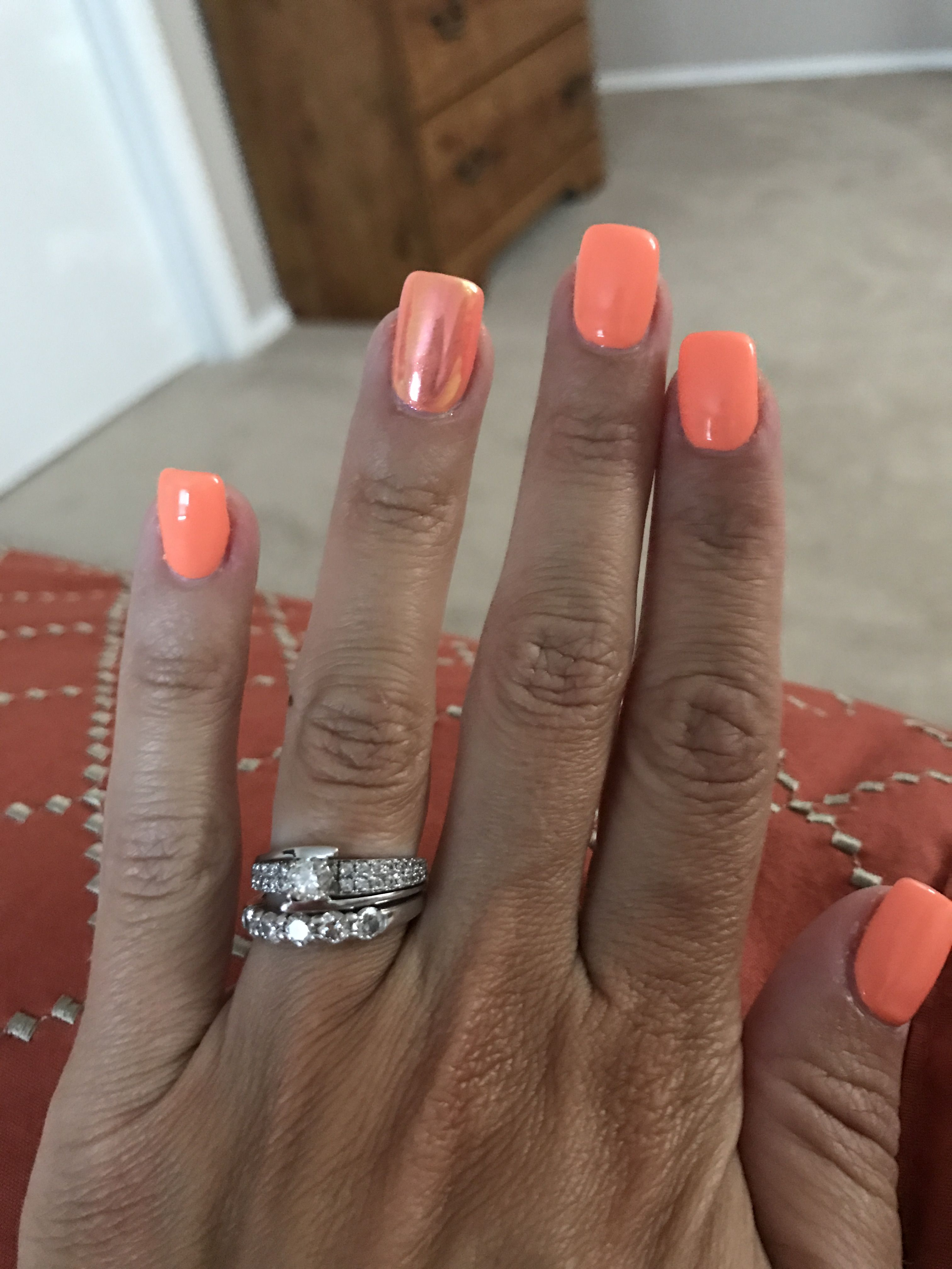 Dnd Gel Polish Soft Orange Summer Nails Orange Nails Chrome Nails