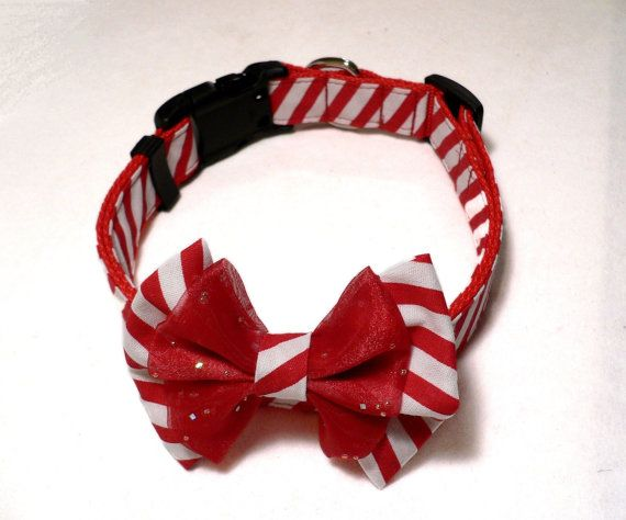 Bow Tie Dog Collar Peppermint Stick  with Plastic by dobeeubags